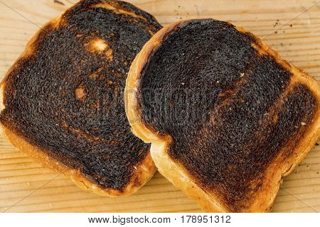 burnt toast bread slices