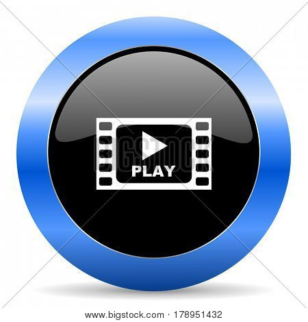 Play video black and blue web design round internet icon with shadow on white background.