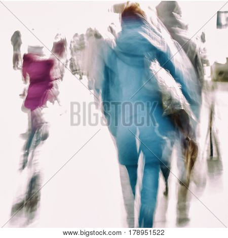 Abstract background of people hurrying down the city street back to us. Intentional motion blur. Concept of seasons, shopping, walking, lifestyle, modern city. For modern pattern, wallpaper or banner design.
