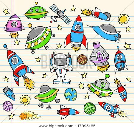 Outer Space Doodle Notebook Elementen Vector Illustration-Set
