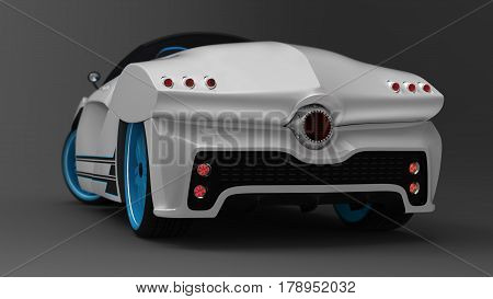 The concept of a sports car coupe is a convertible. Exclusive and stylized tuning of the electro machine. Ergonomic folding roof. Illustration 3d model.
