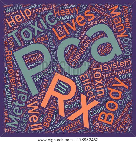PCA Rx the answer to bodily toxicity text background wordcloud concept