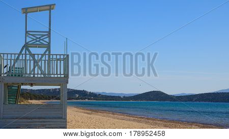 Lifeguard Tower On A Coast Near Athens, Greece
