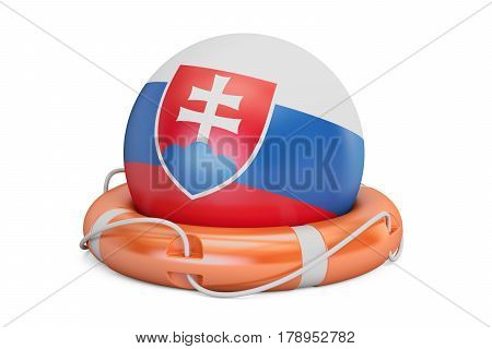 Lifebelt with Slovakia flag safe help and protect concept. 3D rendering