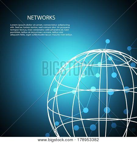 Shiny globe design with illustration of network