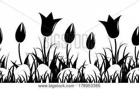 seamless vector border with tulips and easter eggs in grass isolated on white background