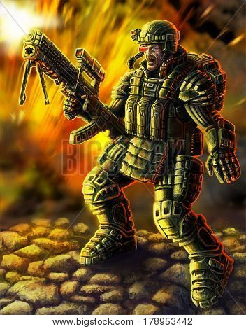 Heavy Infantry Firing in a Colorful Suit with a Large Plasma Rifle. Science Fiction Original Character the Soldier of the Future. Freehand Digital Drawing. Cool Art for Cover Web icons and Print.