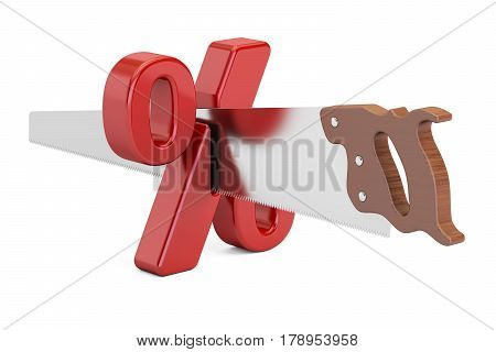 Percent sign with cutting saw. Financial risk concept 3D rendering