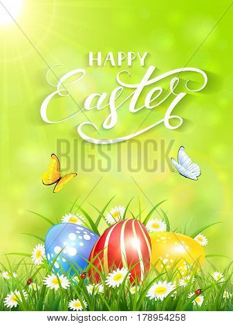 Green nature background with sun beams and lettering Happy Easter, flying butterflies and three colorful Easter eggs on grass and flowers, illustration.