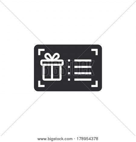 Gift card icon vector filled flat sign solid pictogram isolated on white logo illustration