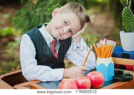 Portrait Of A Wistful First-grader Boy Sitting At A Desk