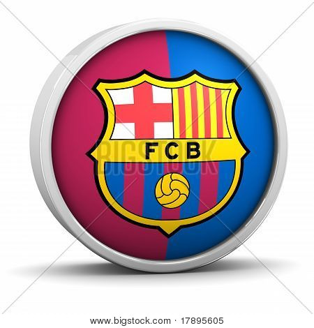 Barcelona  symbol with round frame on a white background