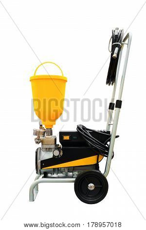 Compressor airbrush industrial mobile for painting on a trolley isolated on a white background