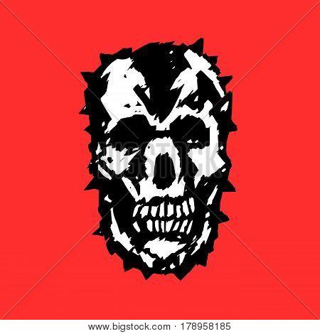 Apocalypse demon skull. Horror character. Creepymask. Red background. Vector illustration
