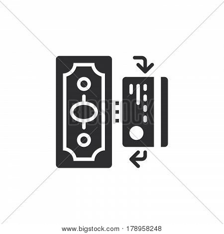 Cash and Cashless Payments icon vector filled flat sign solid pictogram isolated on white logo illustration