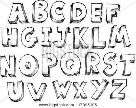 Sketchy Alphabet Letters Vector Illustration