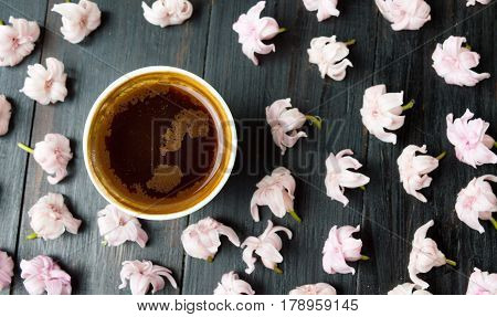 Cup Of Coffee And Cherry Blossom Flowers