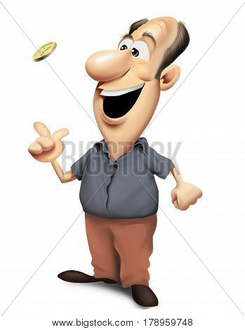 Happy man standing and tossing a coin