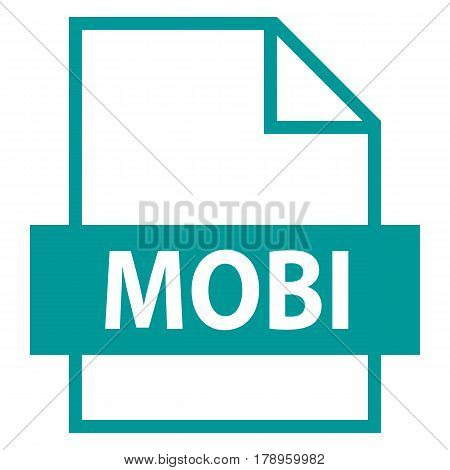 Use it in all your designs. Filename extension icon MOBI eBook file in flat style. Quick and easy recolorable shape. Vector illustration a graphic element.