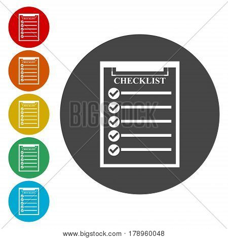 Check list icon in circle, simple vector sign