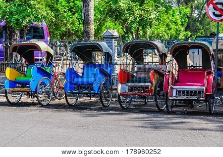 Colorful Becak, Typical Local Transport In Solo, Indonesia