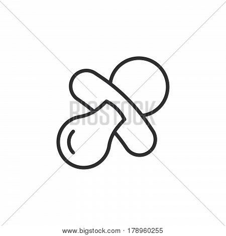 Pacifier nipple line icon outline vector sign linear pictogram isolated on white. Symbol logo illustration