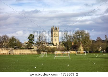 Playground And Chapel Tower Of Merton College. Oxford University, Oxford,