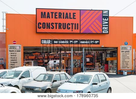 BUCHAREST ROMANIA - APR 1 2016: Drive In - construction materials - materiale de constructii - store entrance