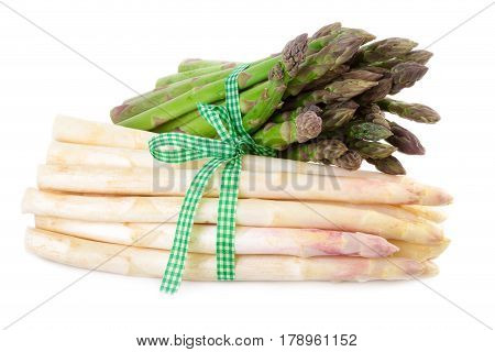 Bundle of green and white Asparagus isolated on white