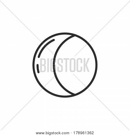 Half moon line icon outline vector sign linear pictogram isolated on white. Symbol logo illustration