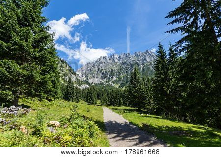 Austrian Alps. Path through summer mountain landscape Kaiser mountains Austria Tyrol