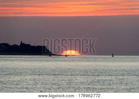 Summer sunrise at Gurnet Point in Plymouth Massachusetts