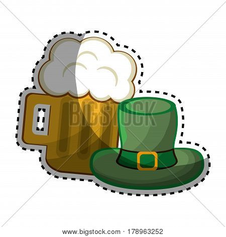 beer glass with foth and st patrick hat, vector illustration design