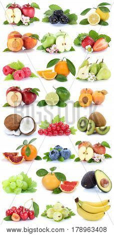 Fruits Apple Orange Apples Oranges Banana Grapes Fresh Fruit Strawberry Pear Collection Isolated