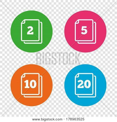 In pack sheets icons. Quantity per package symbols. 2, 5, 10 and 20 paper units in the pack signs. Round buttons on transparent background. Vector