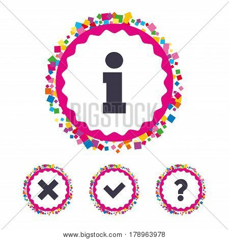 Web buttons with confetti pieces. Information icons. Delete and question FAQ mark signs. Approved check mark symbol. Bright stylish design. Vector