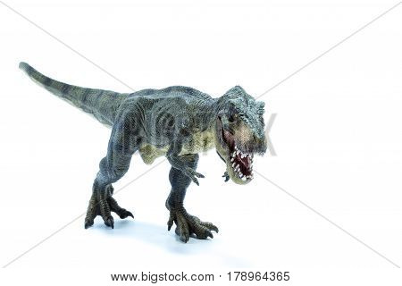 Green Jurassic Dinosaur Tyrannosaurus Rex With Open Mouth Running In Attack Position - White Backgro
