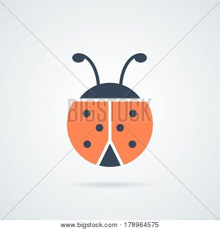 ladybird icon vector illustration.Ladybug icon. Ladybird insect sign. Flying beetle bug symbol. Icons in colour circle buttons. Vector illustration