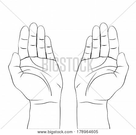 Open hands prayer on white background. Dua prayer draw.Isolated vector illustration