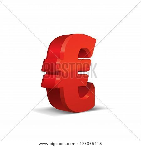 Red 3d Euro Sign. Currency symbol. Vector Illustration. Isolated on White Background