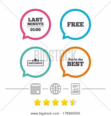Last minute icon. Exclusive special offer with star symbols. You are the best sign. Free of charge. Calendar, internet globe and report linear icons. Star vote ranking. Vector