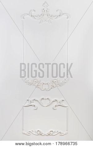 White beautiful rectangular stucco on white isolated background