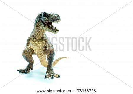 Green Dinosaur Tyrannosaurus Rex Front View - White Background