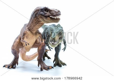 Two Green And Brown Dinosaur Tyrannosaurus Side By Side Fighting - White Background