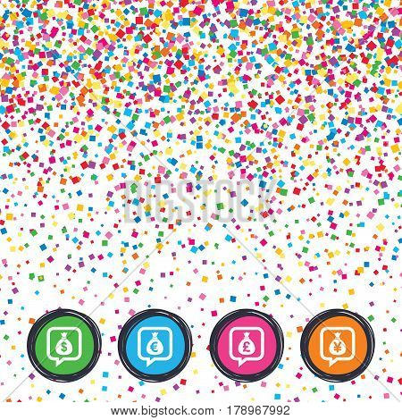 Web buttons on background of confetti. Money bag icons. Dollar, Euro, Pound and Yen speech bubbles symbols. USD, EUR, GBP and JPY currency signs. Bright stylish design. Vector