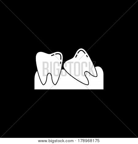 Wisdom teeth solid  icon, Dental and medicine, vector graphics, a filled pattern on a black background, eps 10.