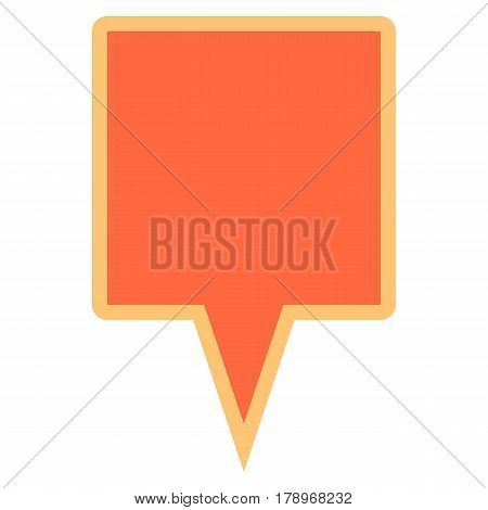 Quick and easy recolorable square shape isolated from background. Flat map pin sign location icon web internet cartography button. Vector illustration a graphic element for design.