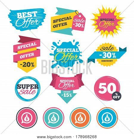 Sale banners, online web shopping. Money bag icons. Dollar, Euro, Pound and Yen speech bubbles symbols. USD, EUR, GBP and JPY currency signs. Website badges. Best offer. Vector