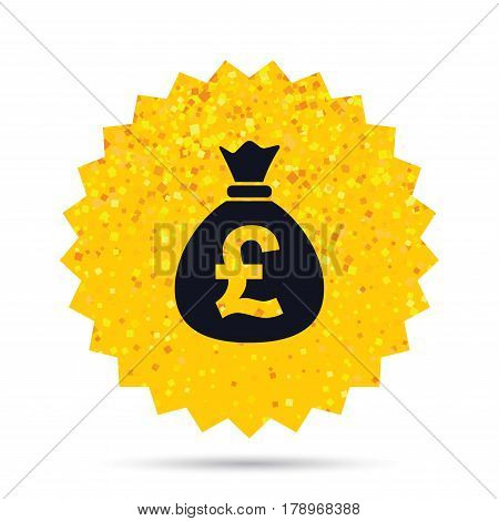 Gold glitter web button. Money bag sign icon. Pound GBP currency symbol. Rich glamour star design. Vector