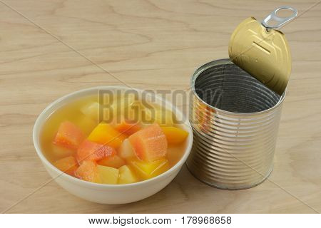 Canned tropical fruit mix of pineapple and papaya in white bowl and opened can